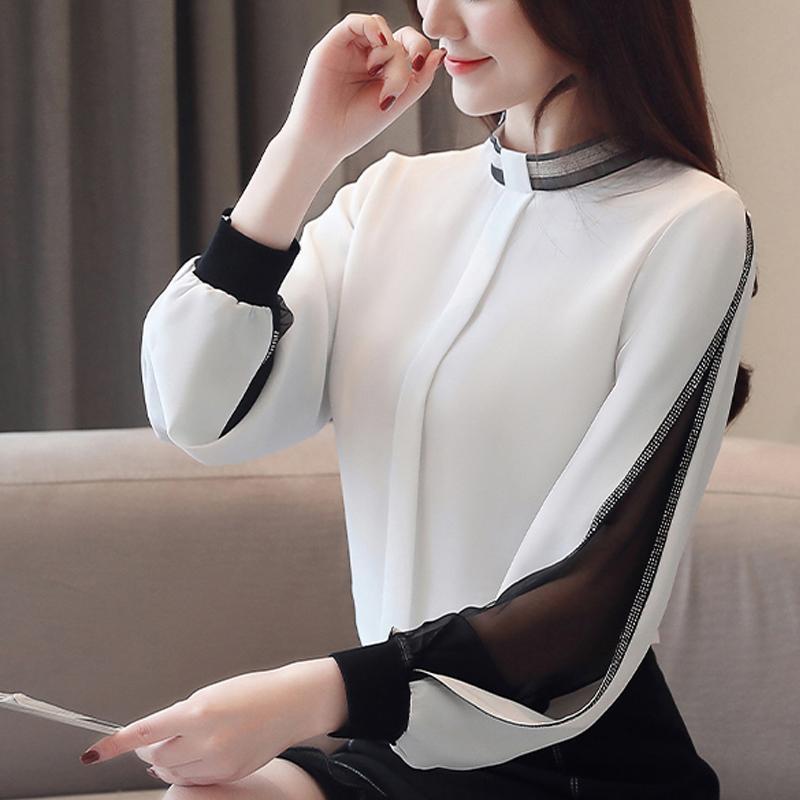 Chiffon Women Blouse Diamonds New 2020 Sexy Casual Hollow out Mesh korean Shirt Elegant Slim Stand Collar Women Tops blusa H34D T200628