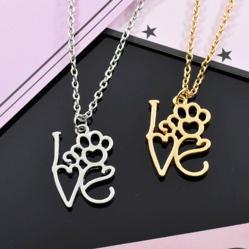 Hollow Pet Footprint Necklaces Cute Animal Dog Cat Love Heart Pendant Necklace For Women Girls Jewelry Necklace A1