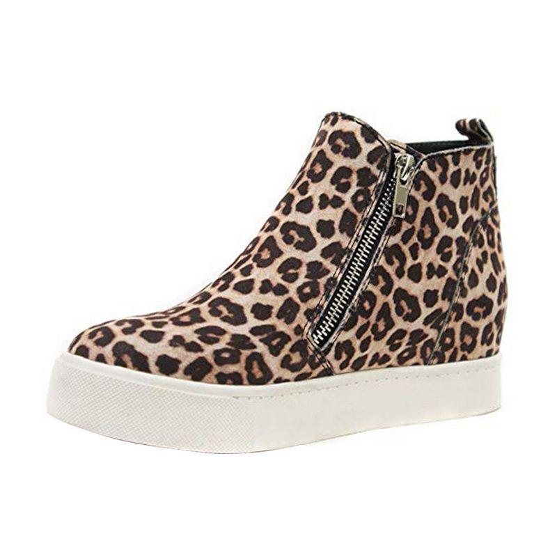 sapatos de mulheres Sneakers Plataforma Casual Side Zipper Cunhas Calçados Ladies leaopard salto alto altura crescente sapatos desportivos