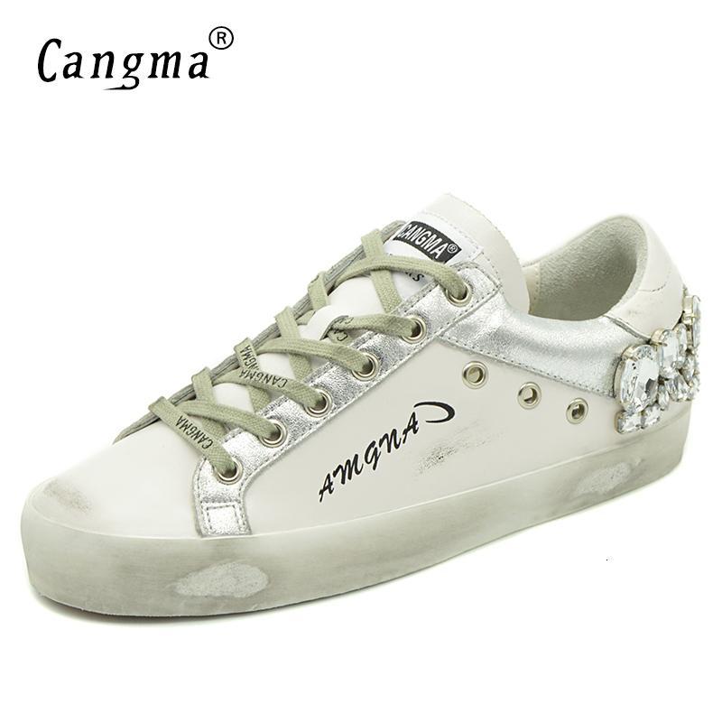2020 새로운 CANGMA 캐주얼 신발 브랜드 스니커즈 골든 여성 실버 다이아몬드 화이트 플랫 정품 가죽 신발 크리스탈 거위 트레이너 LY191130