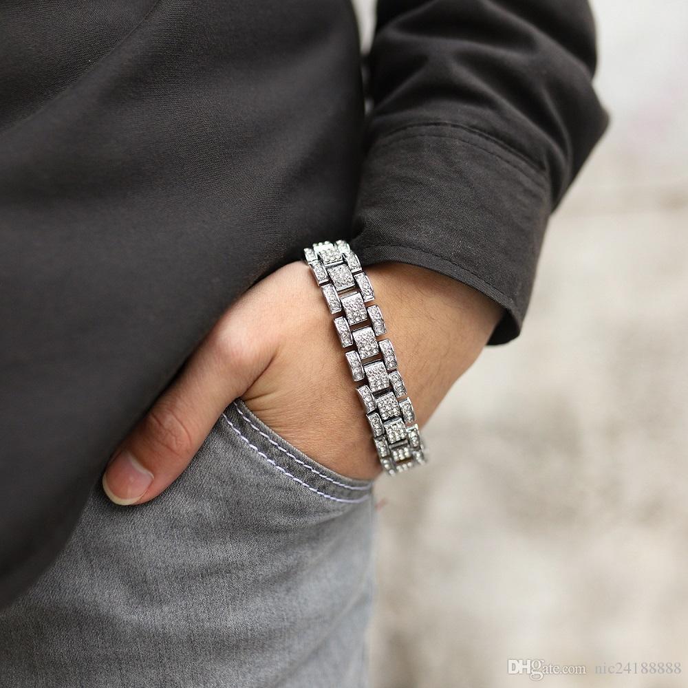 Hip-hop Classique Bracelet Hommes De Luxe Ligne Strass BraceletBangles Haute Qualité Plaqué Or Diamant Simulé 8.27 pouce Bracelet