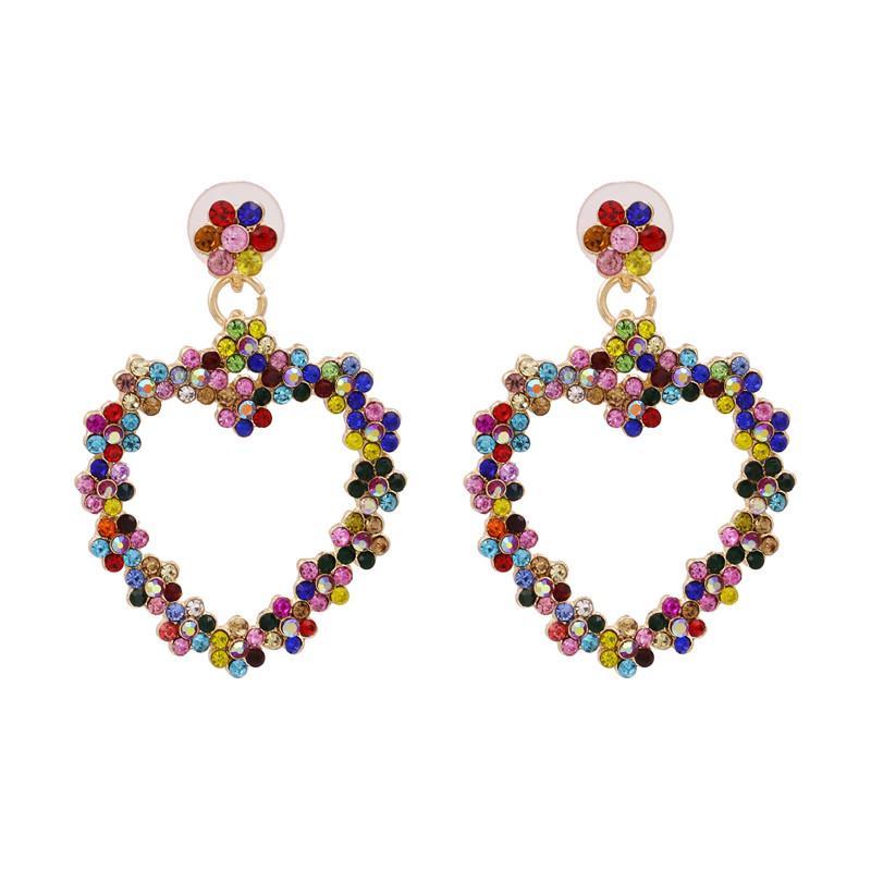 Dichiarazione Juran multicolore di goccia del cuore regalo orecchini Moda Donna ciondola Natale orecchini all'ingrosso Pendientes Mujer
