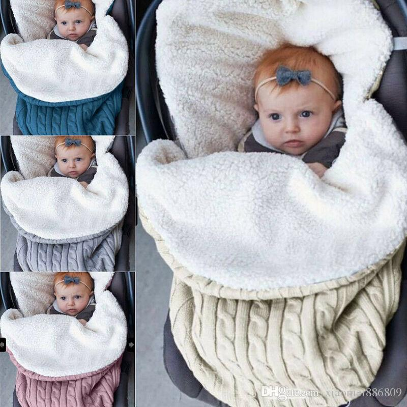 Swaddle Enrole cobertor do bebê recém-nascido infantil Knit Crochet algodão Saco de dormir com capuz