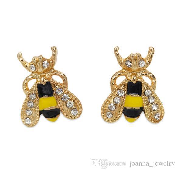 Капля нефтяного желтого животного пчелы ушной гвоздичный сплав золотой цвет прекрасных животных шпильки сережки партии украшения элегантные пчелы серьги