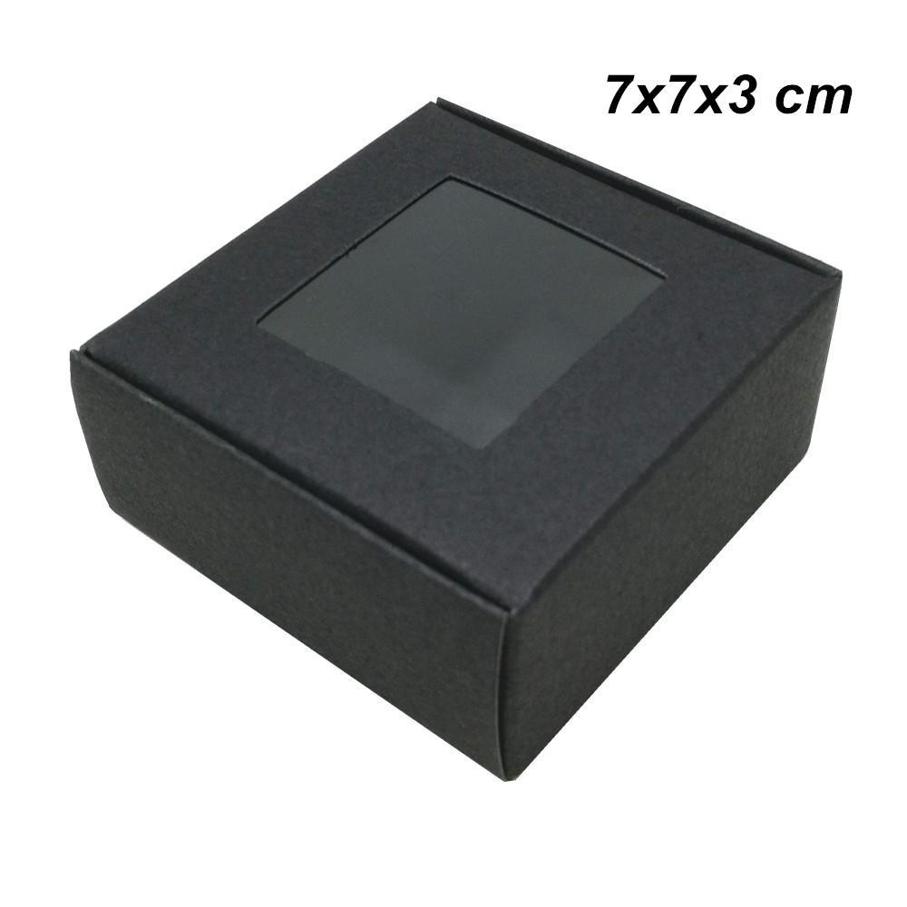 7x7x3 cm 30 pcs Lote de Papel Kraft Preto DIY Artesanato de Sabão Caixas de Janela para Biscoitos Bolo de Papel Kraft Caixa De Embalagem de Papel para o Aniversário de Casamento