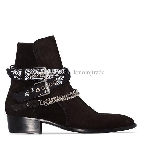 Orijinal Kutusu Yeni Tasarımcı Lüks Bandana Kayış Bükülmüş Bilek Boots Zinciri Çoklu Bandana Baskı Yandan tokalı kemerler Erkekler Siyah Ayakkabı