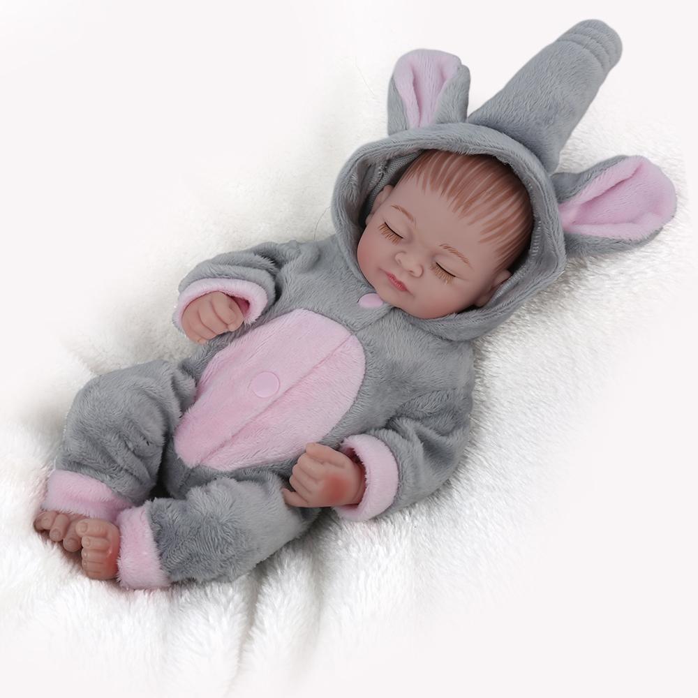 NPKDOLL Mini Reborn Baby Doll Lifelike jouets de bain en silicone pour les filles de couchage fille poupée pour enfants nouveau-nés de cadeau de Noël 10 pouces Y200111