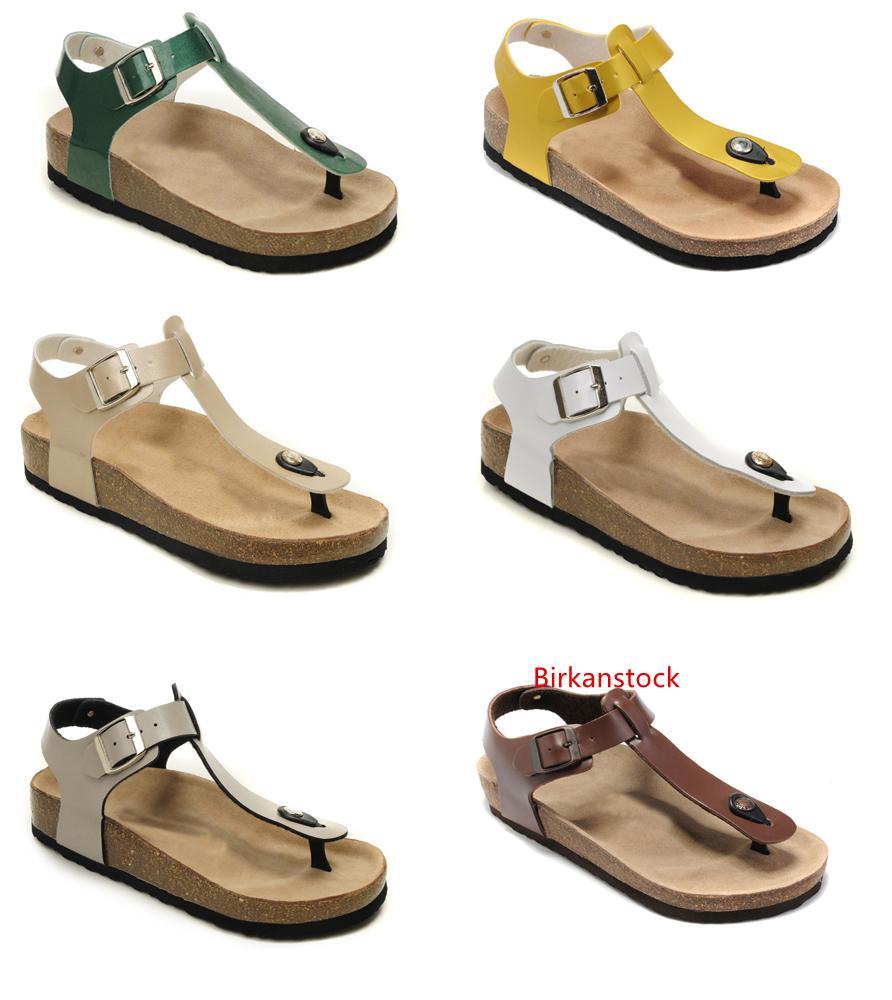 Alta qualidade marca de sapatos de couro de vaca para as Mulheres Homens apartamentos Atacado sandálias de cortiça casuais chinelos de praia do verão com Buckle Flip Flops