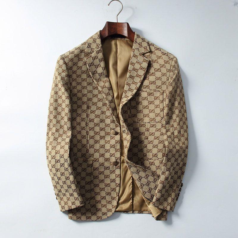 19SS nuevo estilo de los hombres traje chaqueta abrigos señoras delgado traje mangas Mujer carta de la solapa del botón del cuello impresión de manga larga delgada chaqueta de abrigo