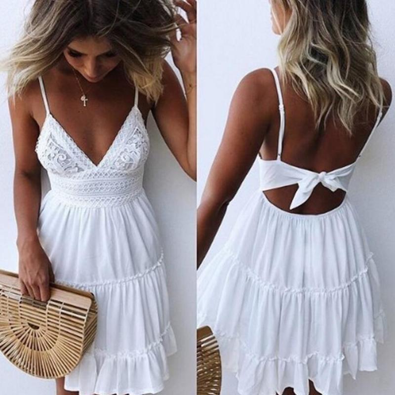 Le ragazze bianco estate di spaghetti del vestito Abiti Bow Strap donne sexy scollo a V senza maniche in spiaggia Backless Lace Patchwork Vestitino