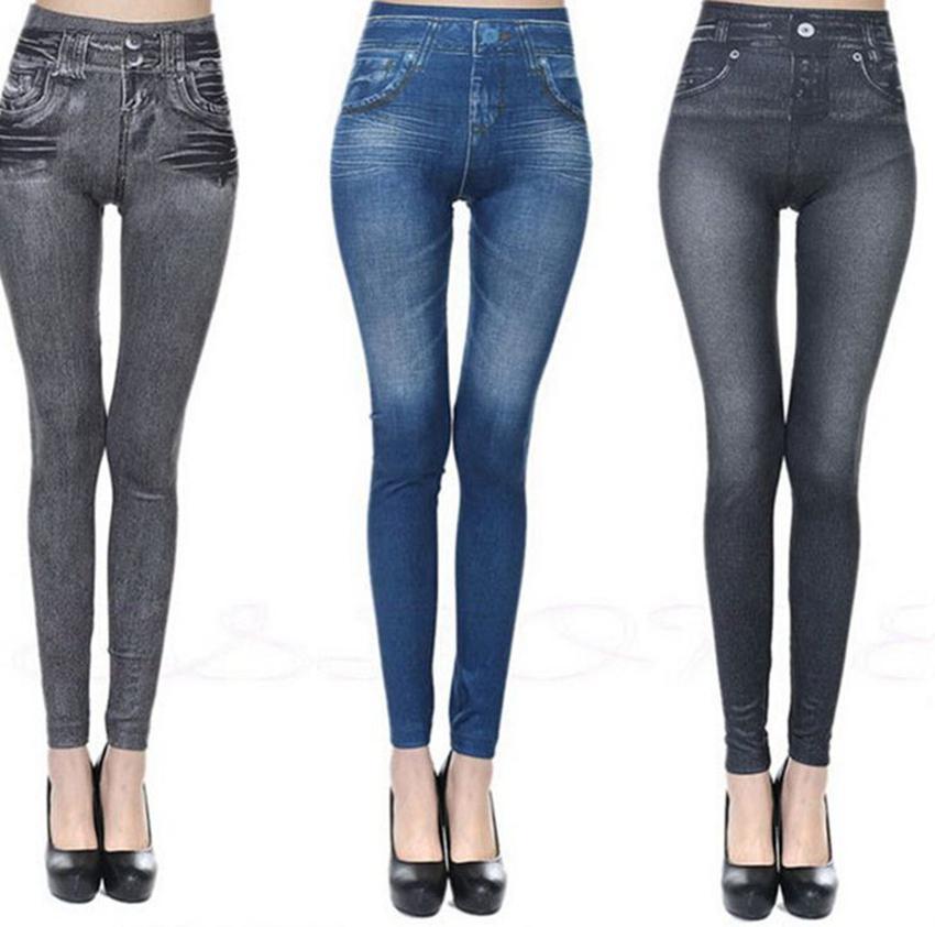 women Imitation Jean Skinny Jeggings Fashion Classic Stretchy Slim Leggings Skinny Pants Plus Size Bottoms Trousers KKA7878