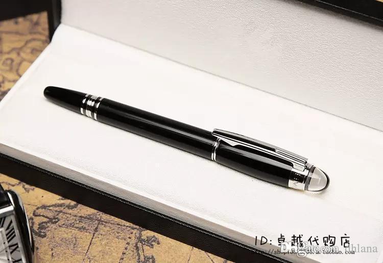 Рекламные Цена M Roller Pen Кристалл топ M-SW школы офиса Поставщики Бесплатная доставка Высокое качество Fountain Pen Black Silver Metal Pen Hot