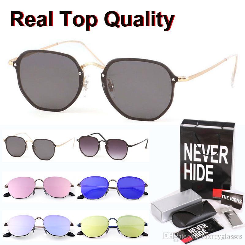 1pcs al por mayor - Hexágono gafas de sol de las mujeres de alta calidad del metal del marco UV400 gafas de lente con la caja original, paquetes, accesorios, todo!