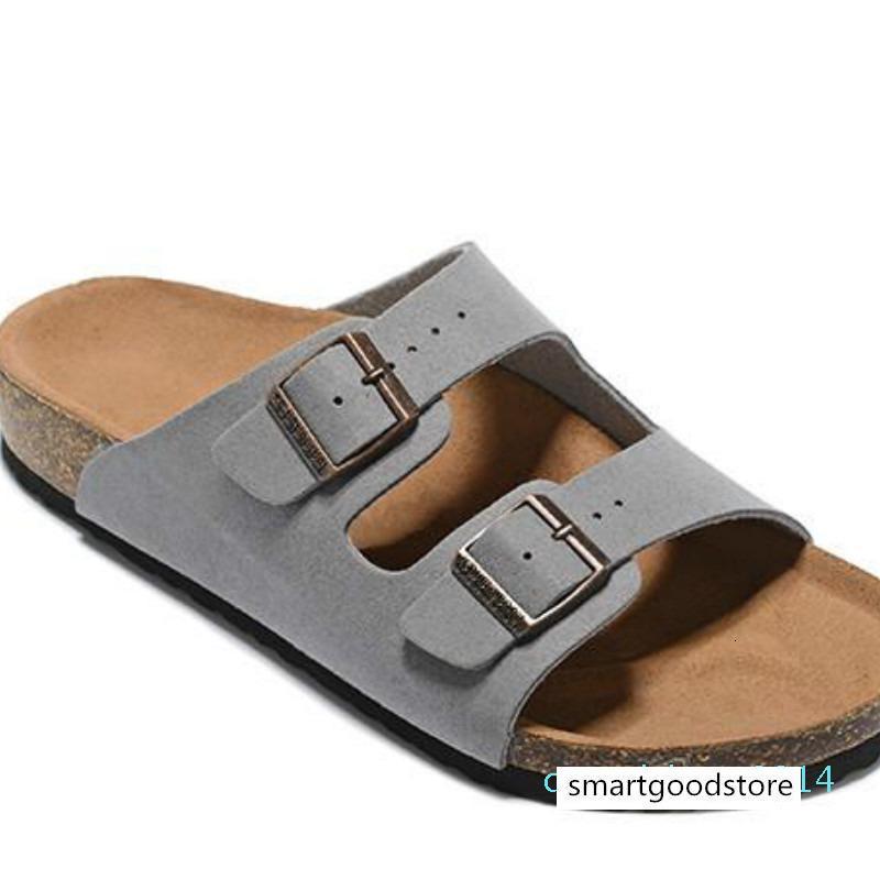 Erkekler Düz Sandalet Kadınlar Günlük Ayakkabılar Çift Toka Ünlü Arizona Yaz Plaj Üst Kalite Gerçek Deri Terlik ile Orignal Kutusu C14