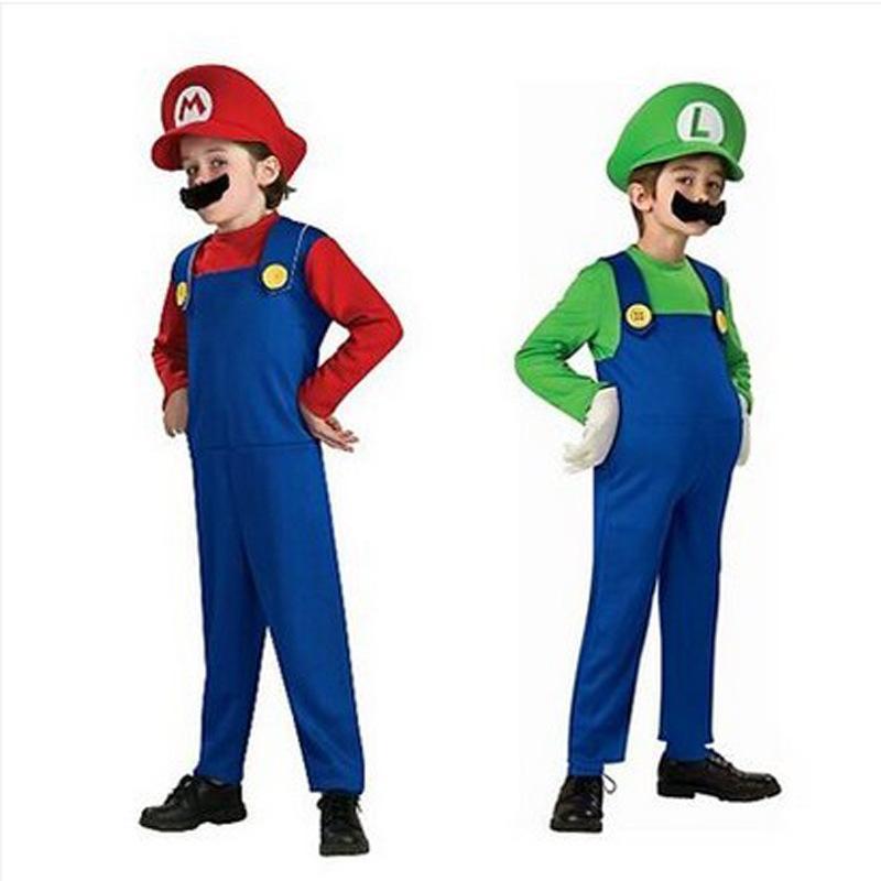 Cosplay Adults and Kids Super Mario Bros Cosplay Dance Costume Set Children Halloween Party MARIO & LUIGI Costume