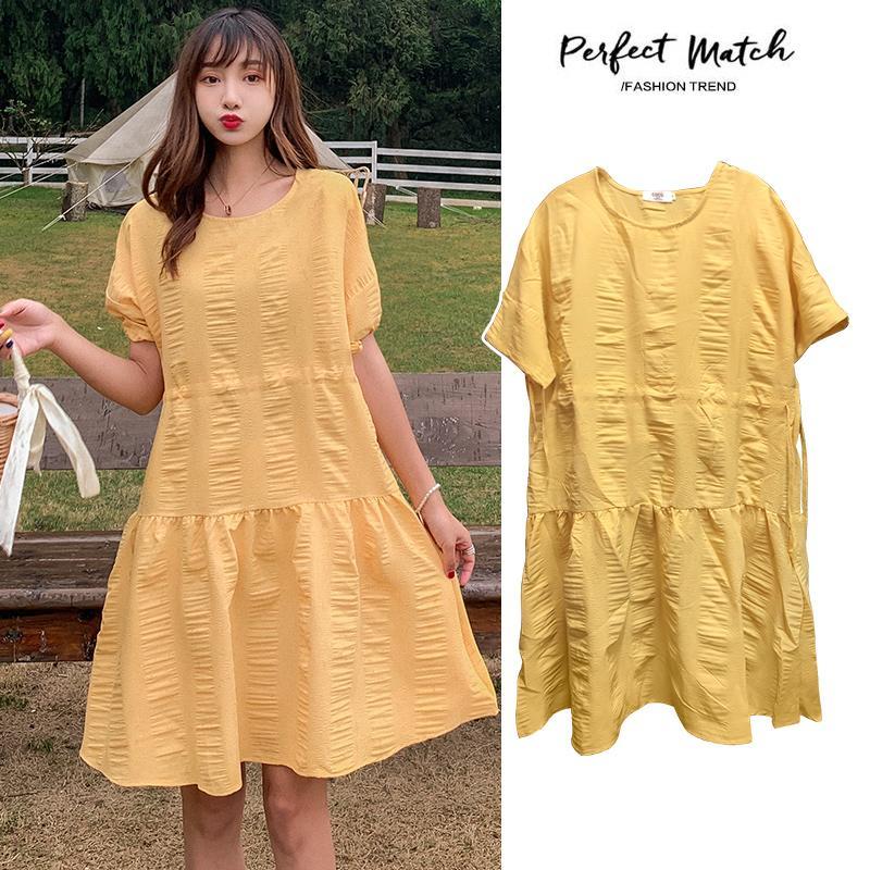 # 8063 de maternidad del verano vestido de algodón con estilo corto O Cuello del color sólido de manga sueltos para Mujeres Embarazadas mamá