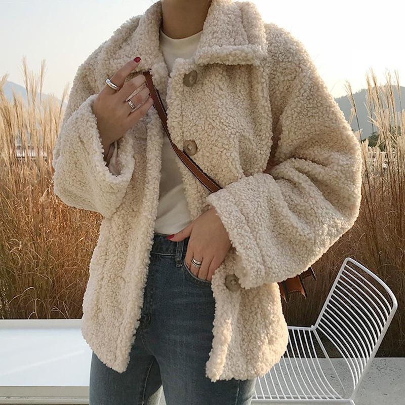Faux Fur Thick Coat For Women 2019 Autumn Warm Soft Loose Fur Jacket Female Outerwear Button Plush Ladies Casual Winter Overcoat