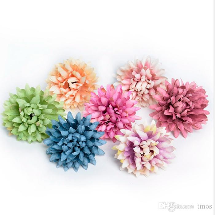 300pcs Piccolo chiffion Gerbera della margherita a mano crisantemo testa di fiore artificiale per la cerimonia nuziale della decorazione DIY Corona baby shower