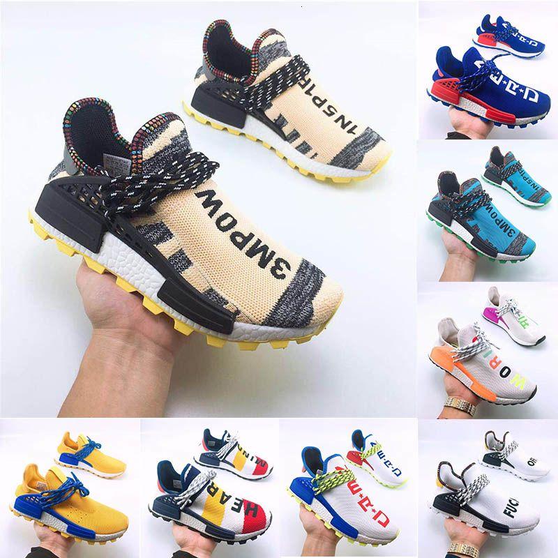 Nova Raça Humana Pharrell Williams Running Shoes Creme X Nerd Solar Pacote de Holi Esporte Homens Mulheres Pharell Runner Racer Sports Sneaker Size 36-47