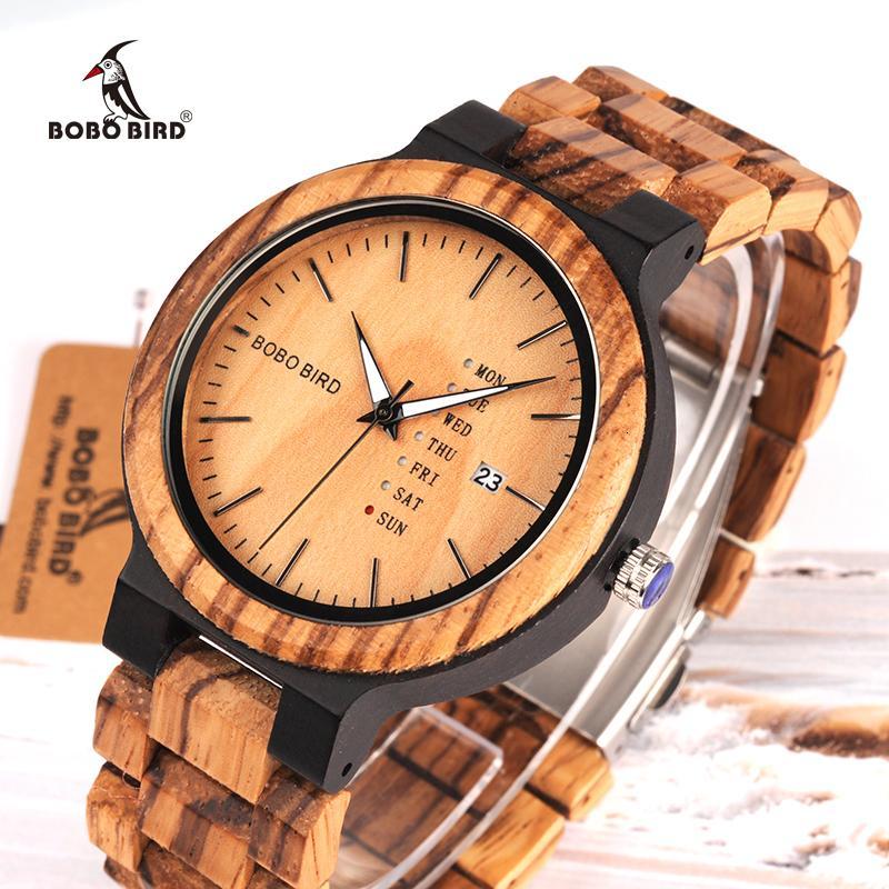 BOBO del relogio masculino BIRD madera reloj de los hombres erkek Kol saati Semana pantalla Fecha del cuarzo de Japón de los hombres' Relojes Aceptar Logo envío de la gota SH190929
