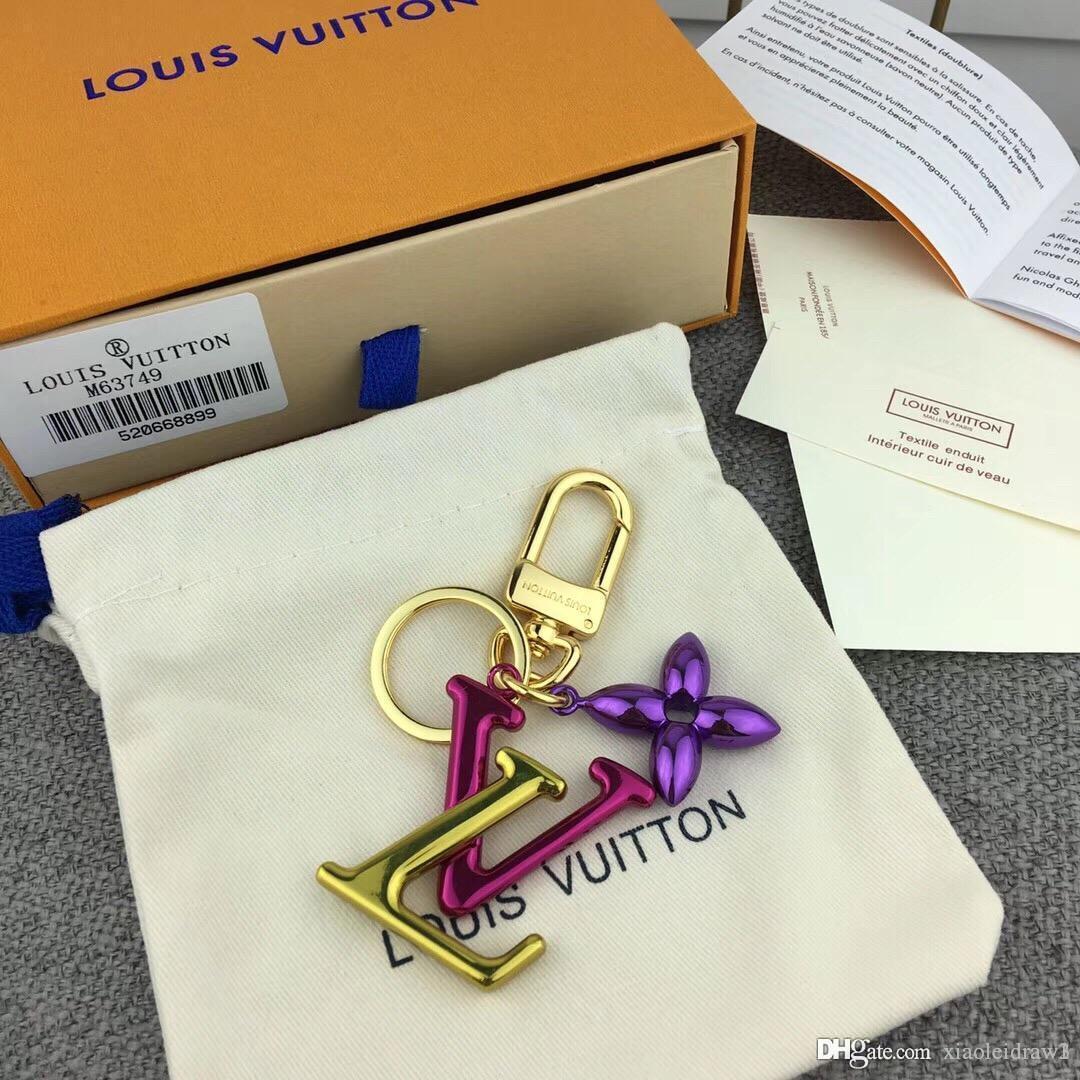 melhores homens de prata carta de metal mulheres chaveiros com frete grátis cadeia chave de ouro de couro estilo caixa de moda M63749 88Accessories lona