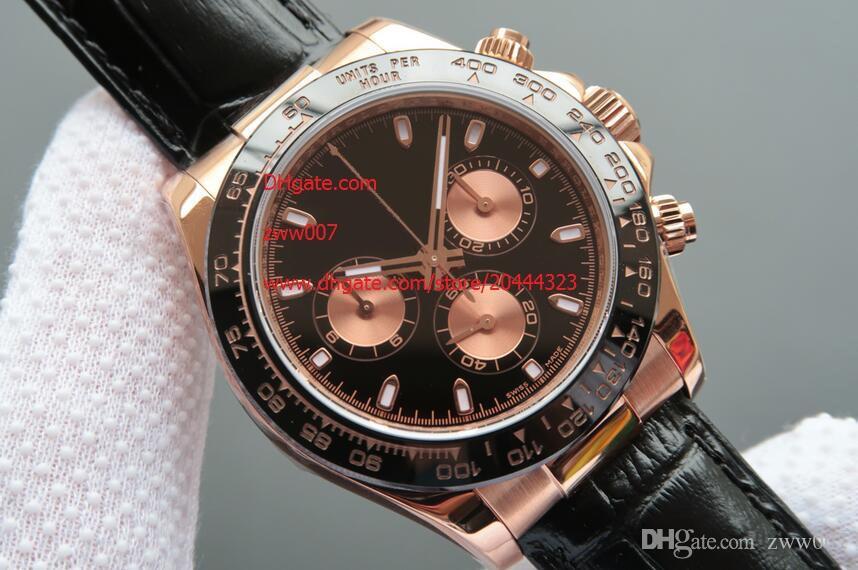 Завод производитель Бесплатная доставка Сапфир розовое золото 116515 40 мм черный керамический безель автоматические мужские мужские часы Часы без хронографа