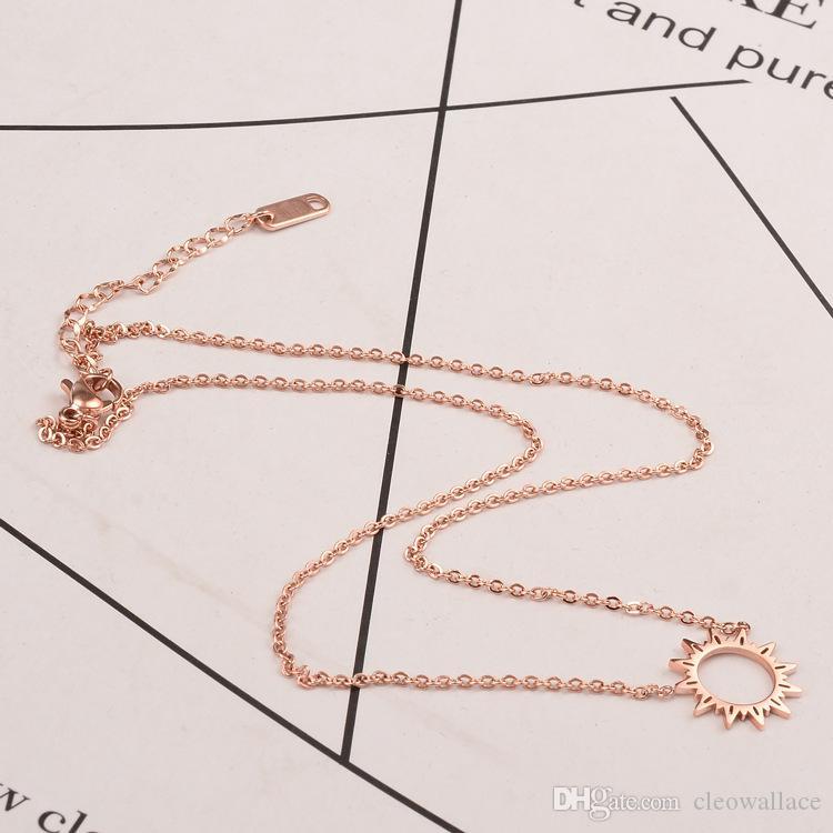 1 шт. Солнце улыбка лицо кулон серебро Женщина роскошные ювелирные изделия 45.5 см титана стали 18-каратного розового золота ожерелье