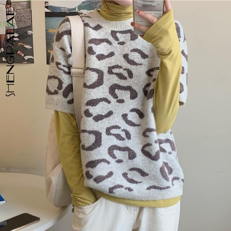 SHENGPALAE 2020 New Fashion Spring Slim Vintage Women Blouse High Waist Casual Style Loose Leopard Short Sleeve Shirt Top 2758