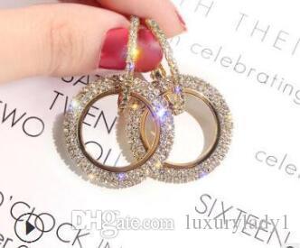Nuovo progettista 925 cristalli ago strass cerchio da lunghi orecchini Swarovski coreano temperamento di personalità orecchini selvatici