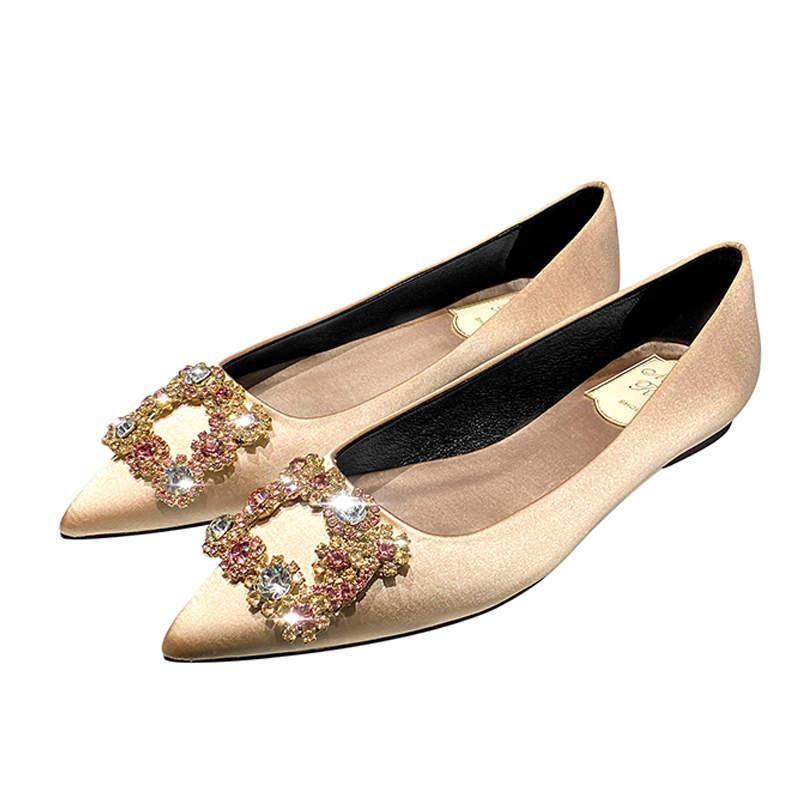 Pisos las mujeres zapatos de boda Rhinestone punta estrecha Cenicienta Zapatos de Cristal de deslizamiento plana en los zapatos más el tamaño del partido Mujer Primavera Oro