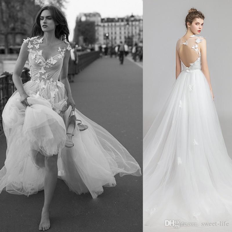 A-line in lager Elegante Hochzeitsempfang Party Kleid 3D Blumen Applique Backless Beach Formale Plus Größe Braut