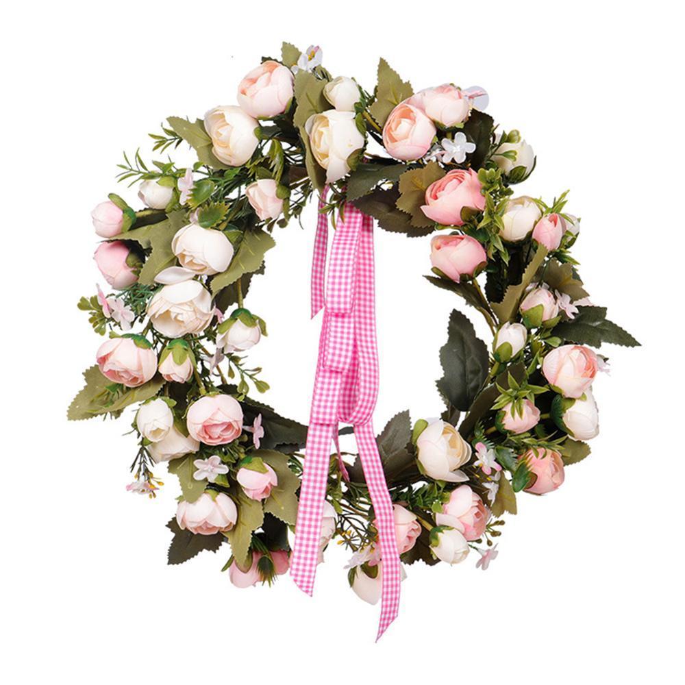 35cm Gül Çiçek Çelenk El yapımı Simülasyon Bahar Dekoratif Çelenk Sevgililer Günü Düğün Dekorasyon Mekan Düzeni