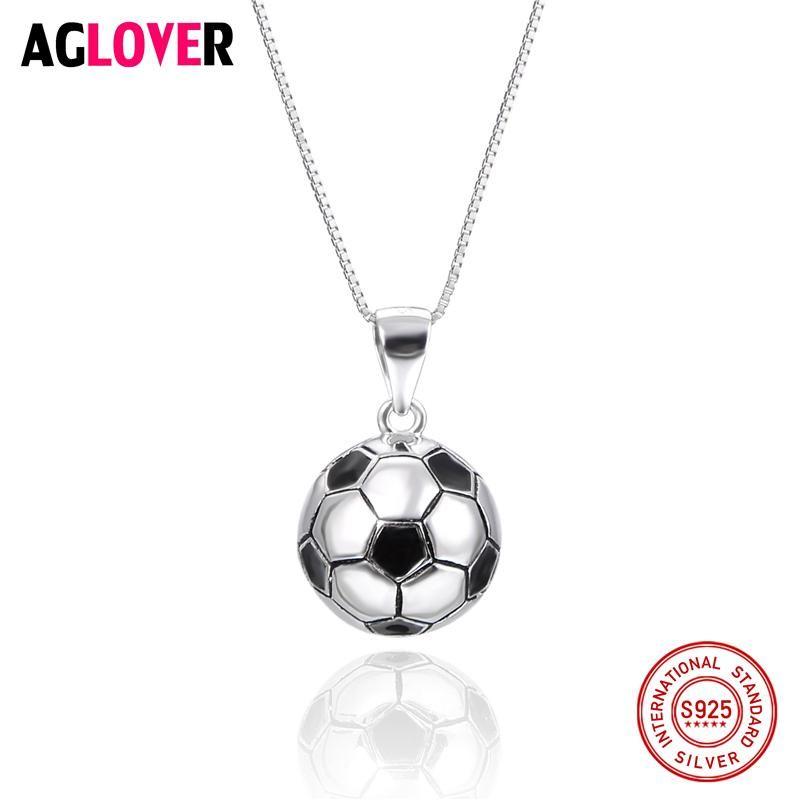 2018 Fans de partido de fútbol 925 Colgante de bola redonda de fútbol de plata esterlina 45 cm Cadena de caja Hombre Mujer Joyería de moda