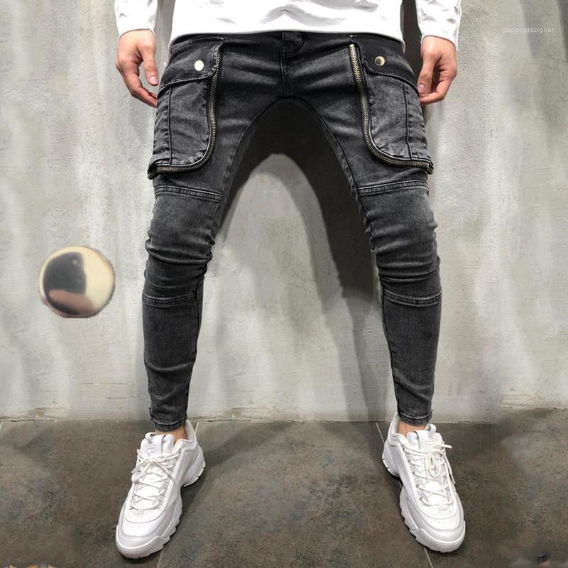 Hole Jeans Fashion Gradient Slim Pencil Pants Male New Designer Trousers Mens Big pocket