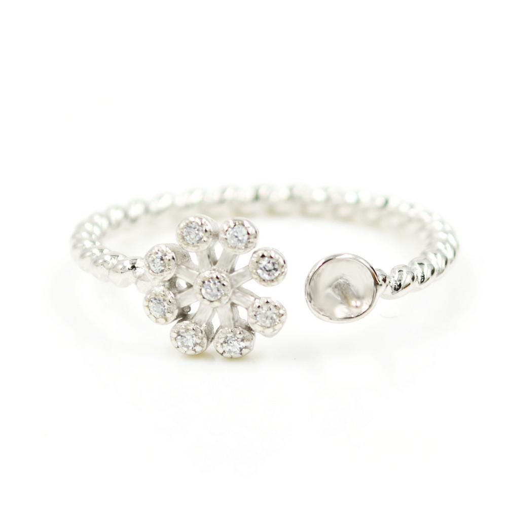 S925 стерлингового серебра кольцо крепления Снежинка твист кольцо крепления для женщин ювелирные изделия из жемчуга diy бесплатная доставка регулируемый открытие кольцо