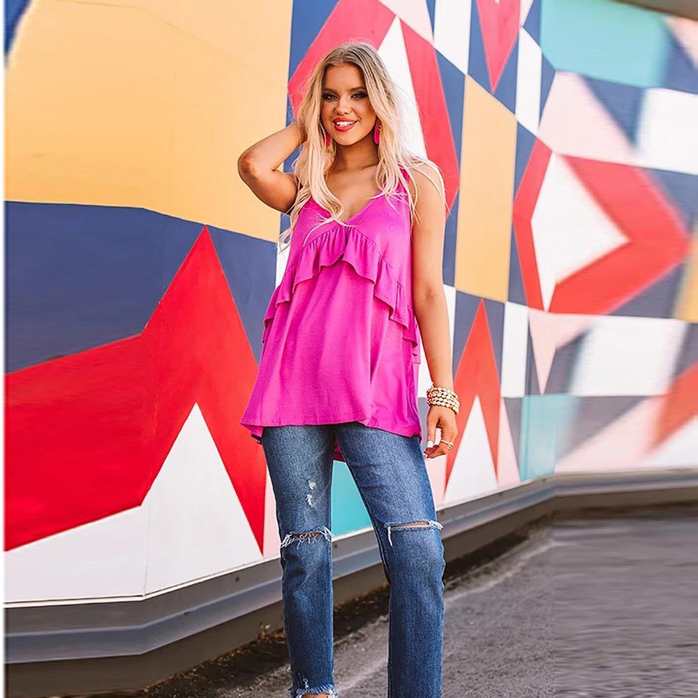 delle donne designerShiying maglia allentata donne della maglietta usura europeo top senza maniche passere pullover V-collo 253587