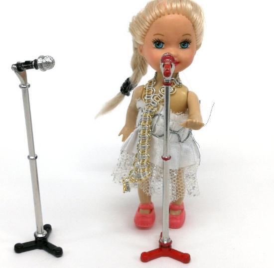 1:12 Casa De Bonecas Em Miniatura Microfone De Liga de Microfone Titular Música Sala de Decoração Acessórios Casa de Bonecas