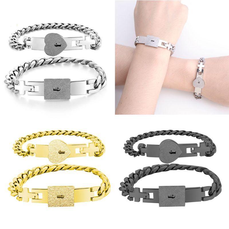 2pcs ton argent amant en acier inoxydable Coeur d'amour de verrouillage Bracelet avec Bangles Key Lock Kit Couple Bijoux cadeau