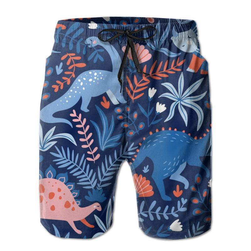 Men Beach Shorts Quick-drying Men Swimming Trunks Cute Dinosaurs Tropical Swimwear Swimsuit Beachwear Beach Bathing Shorts