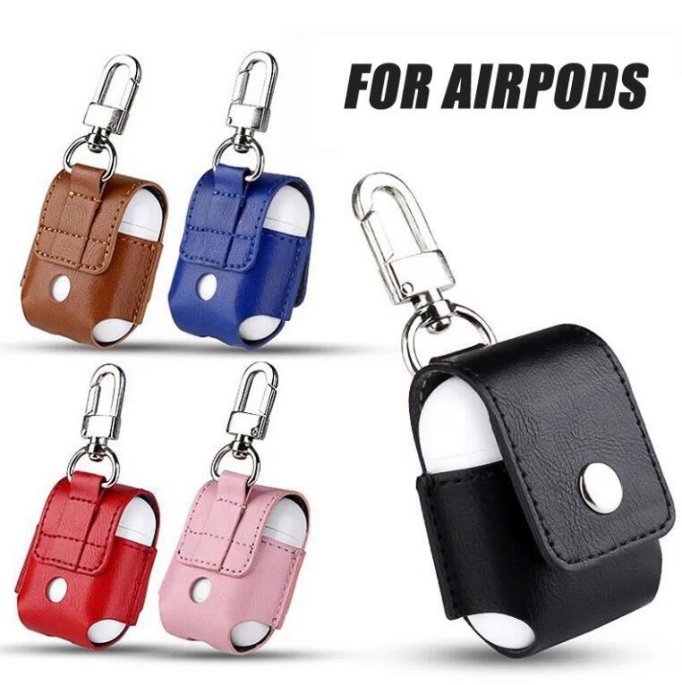 Case Cover Cyberstore per Airpods portatile in pelle PU anti-lost caso della copertura di protezione del sacchetto per Apple Air Baccelli Bluetooth Headset Custodia di ricarica