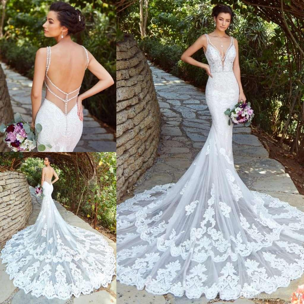 2019 Lace Mermaid Wedding Dresses V Neck Appliques Beads Court Train Illusion Beach Wedding Dress Sexy Backless Plus Size Boho Bridal Gowns
