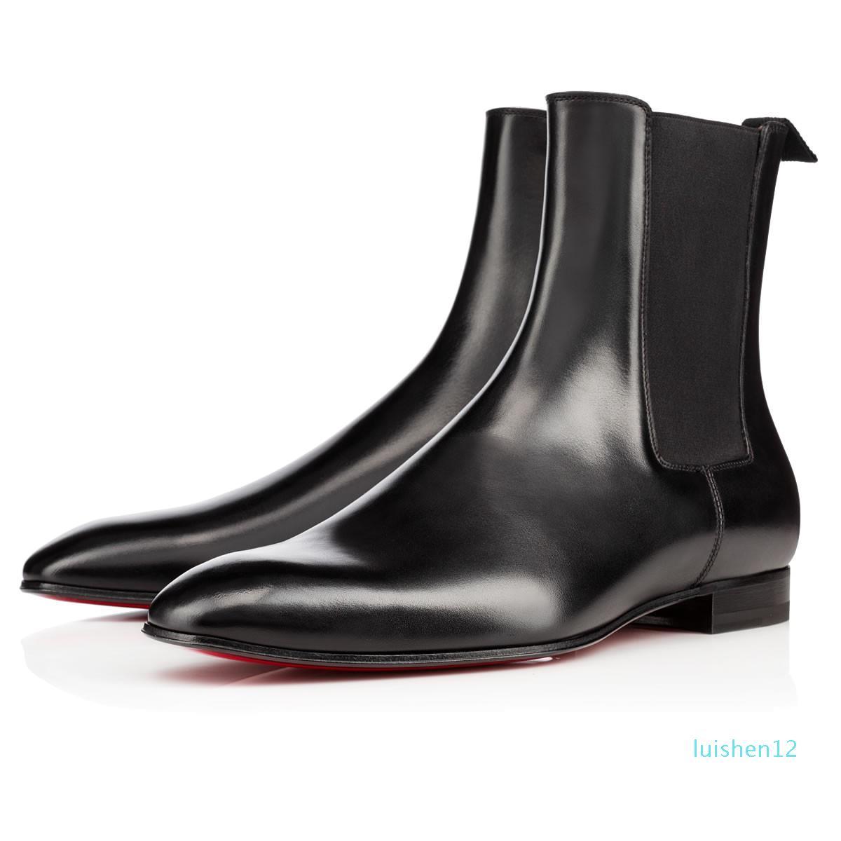 Art und Weise elegantes Business Designer Mens Black Leather Ritter Stiefel High Top-roter Unterseite Stiefel, Marke Flache Ankle Boot Freizeitschuhe L12