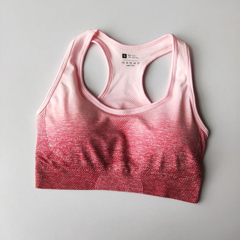 2020 Les femmes sans couture Yoga Soutien-gorge Soutien-gorge Workout Fitness Tops avec amovible Pad manches Sport Chemises Push Up Gym Running Wear active