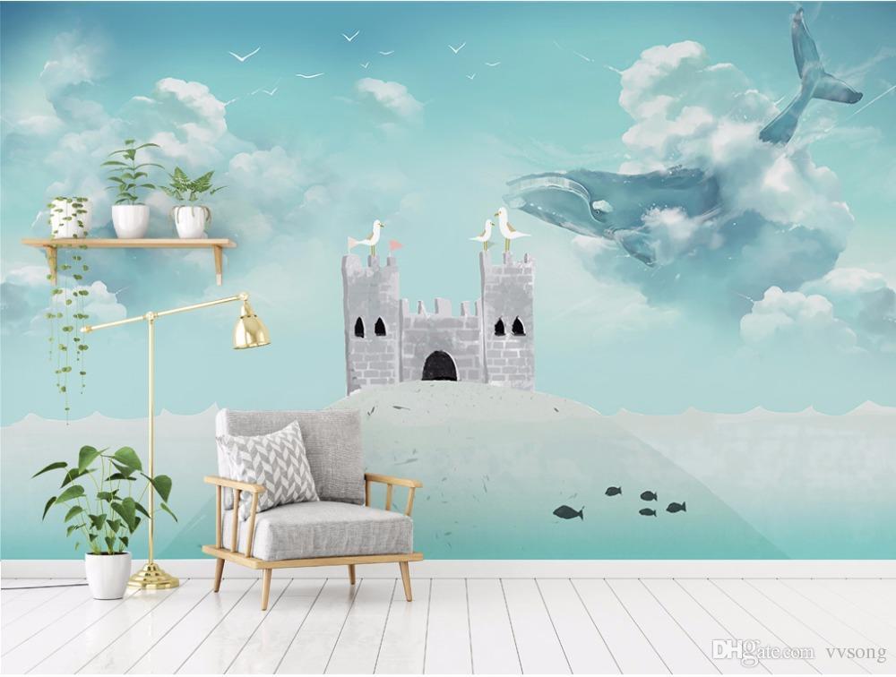 Castillo Para Niños Niñas Dormitorio Wallpaper mural Para Paredes Cielo azul Pájaro de ballena Papeles de pared Decoración para el hogar Para Niños Habitación Papel tapiz 3D