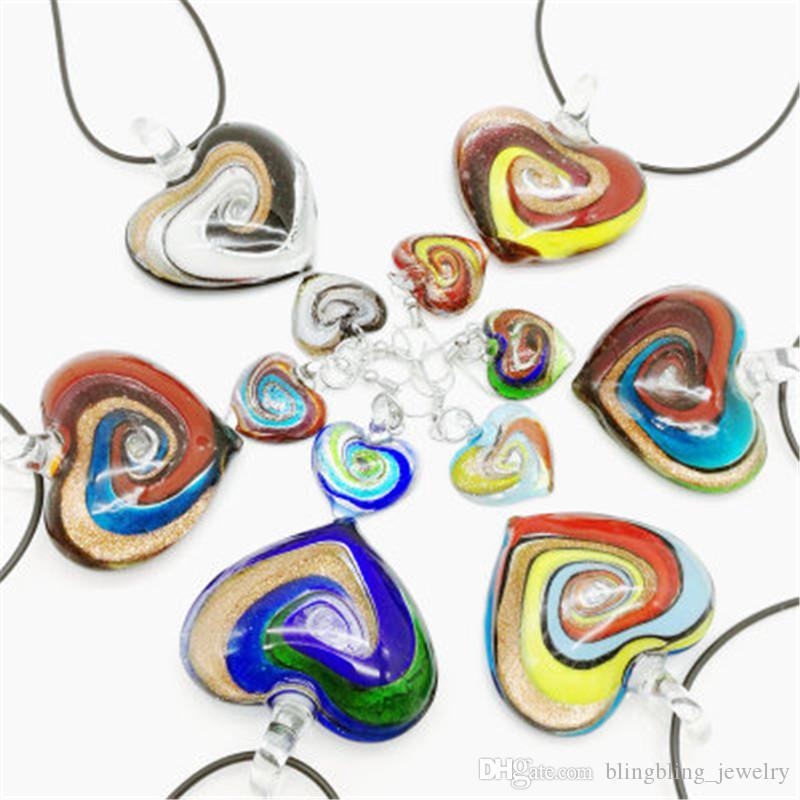 En forma de espiral de la flor al por mayor de los pendientes del collar pendiente de cristal Conjunto americano del estilo Más vendido Europea y Nueva Personalidad multicolor del corazón