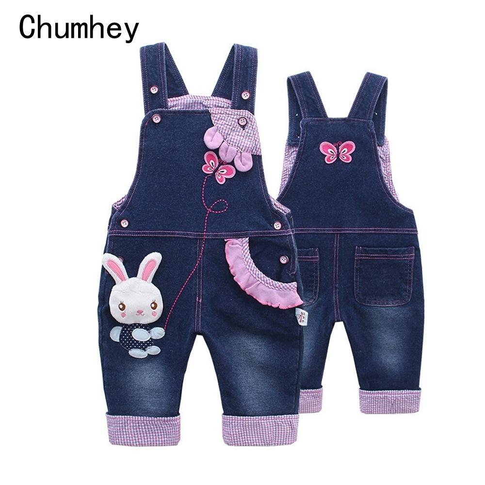 Baby Girl Overalls Spring Infant Cotton Jeans Rabbit Rompers Bebes Cartoon Clothes Toddler Denim Pants Jumpsuit Kids Clothing J190524