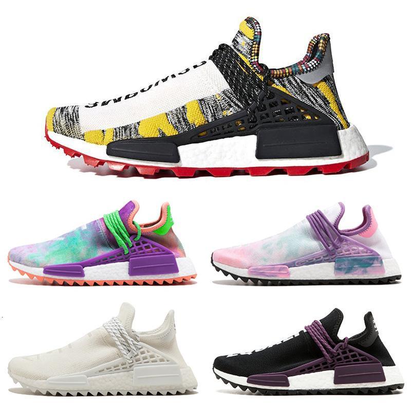 New Pharrell Williams X Originals NMD Hu experimental Solar Pacote de 3m Pow3r raça humana Homens Mulheres Running Shoes Sneakers autênticos 36-45