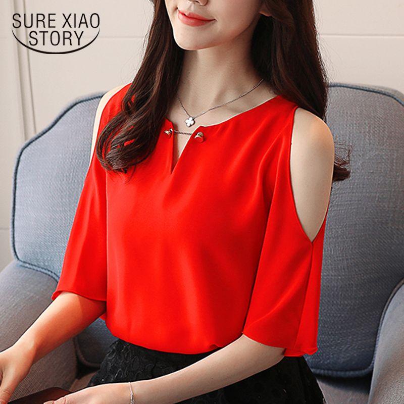 2018 nouvelle mode estivale court chemisier en mousseline de soie chemises solides vêtements pour femmes occasionnels trou Hops haut D616 30 Y19071201
