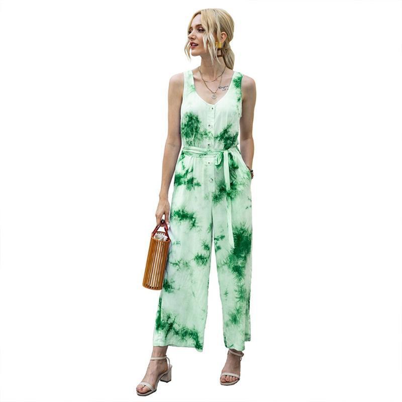 Strampelhöschen beiläufige Maxi Tie-Dye Patchwork O Ansatz Sleeveless langen Sommer-Strand ein Stück Overall Overall Frauen