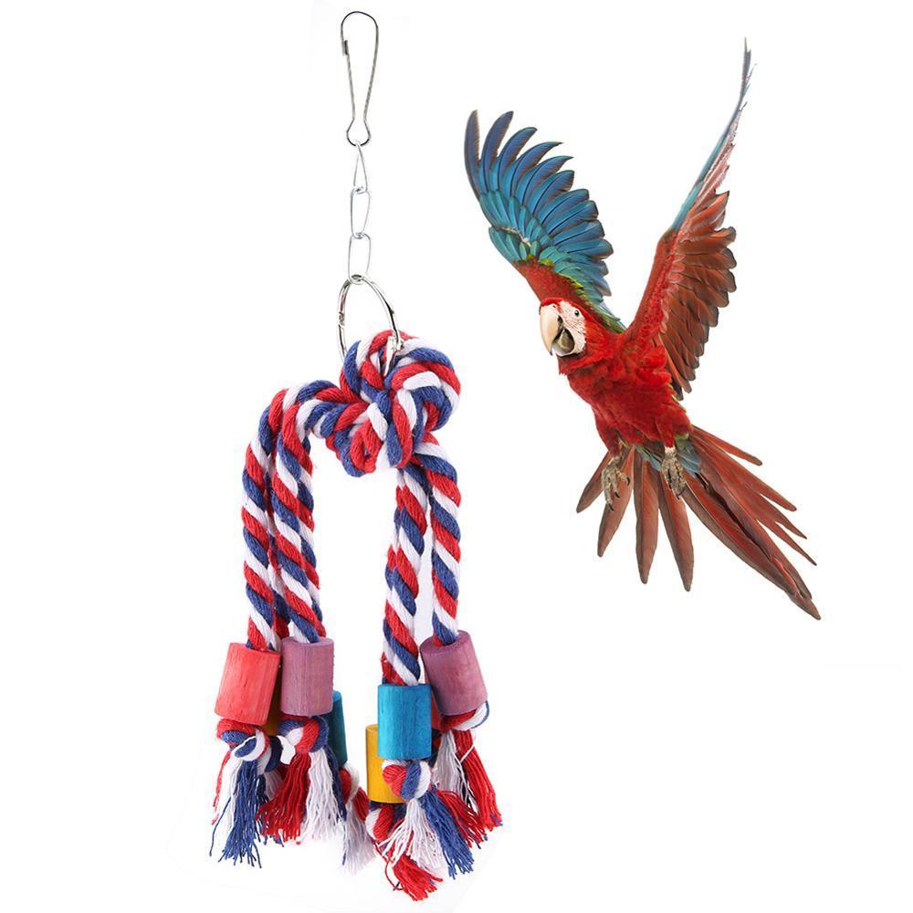 Suministros de aves juguetes de aves mascotas colorido Chew del juguete que cuelga de la cuerda de escalada algodón Juguetes para loros Accesorios